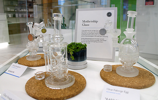 Mothership Glass display at Delta 9 Cannabis Store – Osborne Village